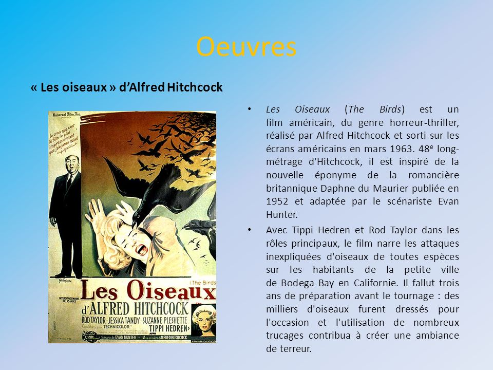 Oeuvres « Les oiseaux » d'Alfred Hitchcock