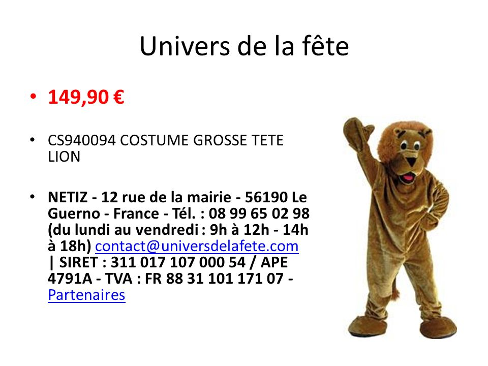 Univers de la fête 149,90 € CS940094 COSTUME GROSSE TETE LION