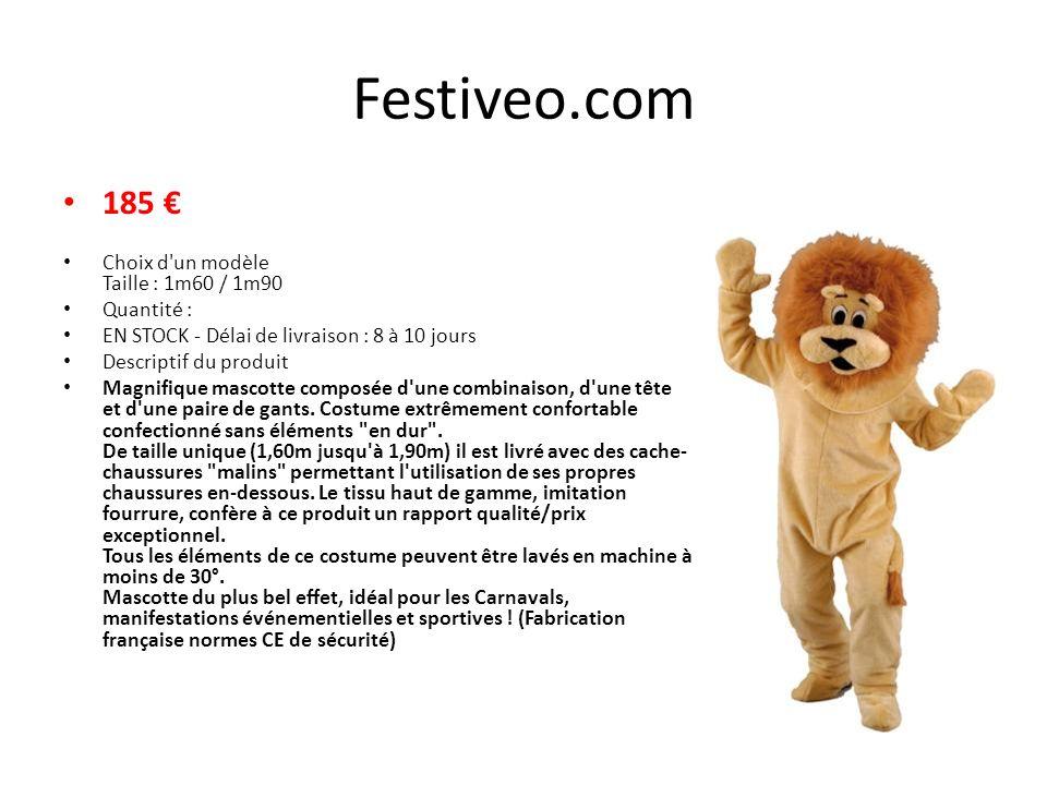 Festiveo.com 185 € Choix d un modèle Taille : 1m60 / 1m90 Quantité :