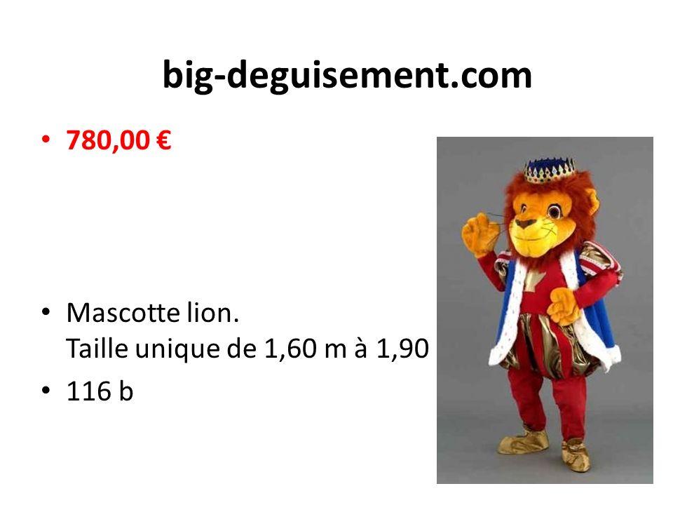big-deguisement.com 780,00 € Mascotte lion. Taille unique de 1,60 m à 1,90 m 116 b