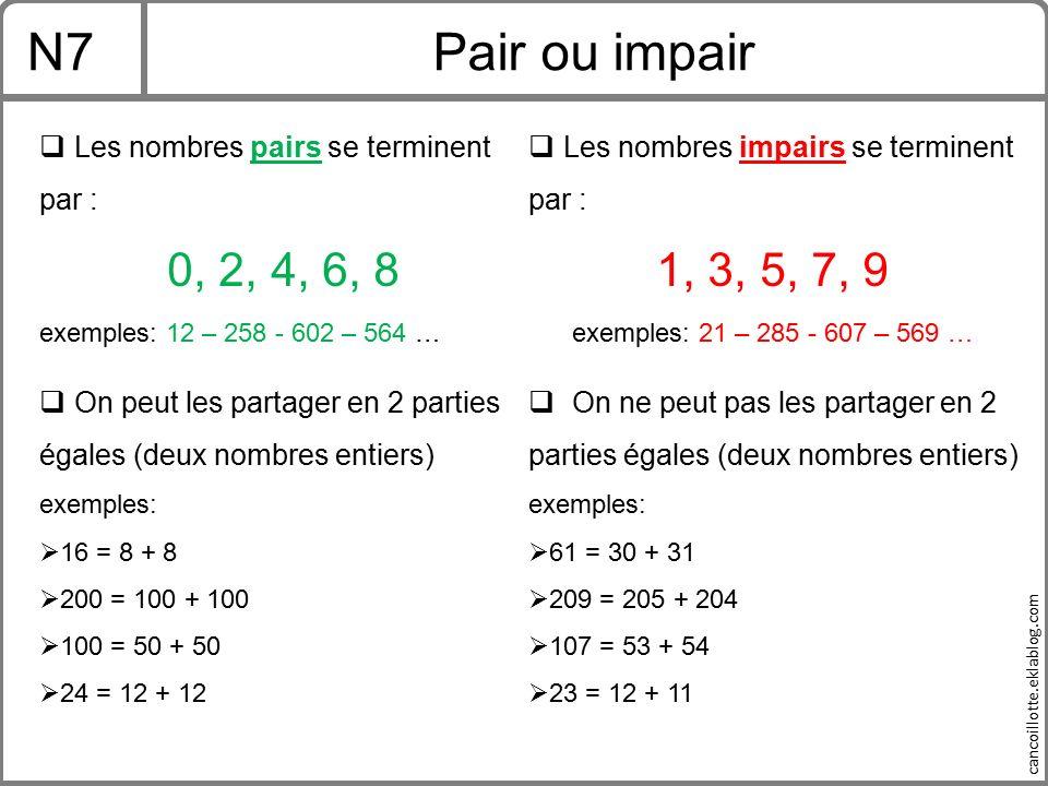 N7 Pair ou impair. Les nombres pairs se terminent. Les nombres impairs se terminent par : par : 1, 3, 5, 7, 9.