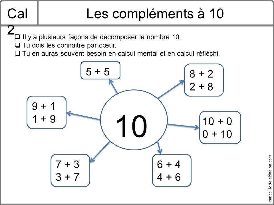 10 Cal2 Les compléments à 10 5 + 5 8 + 2 2 + 8 9 + 1 1 + 9 10 + 0