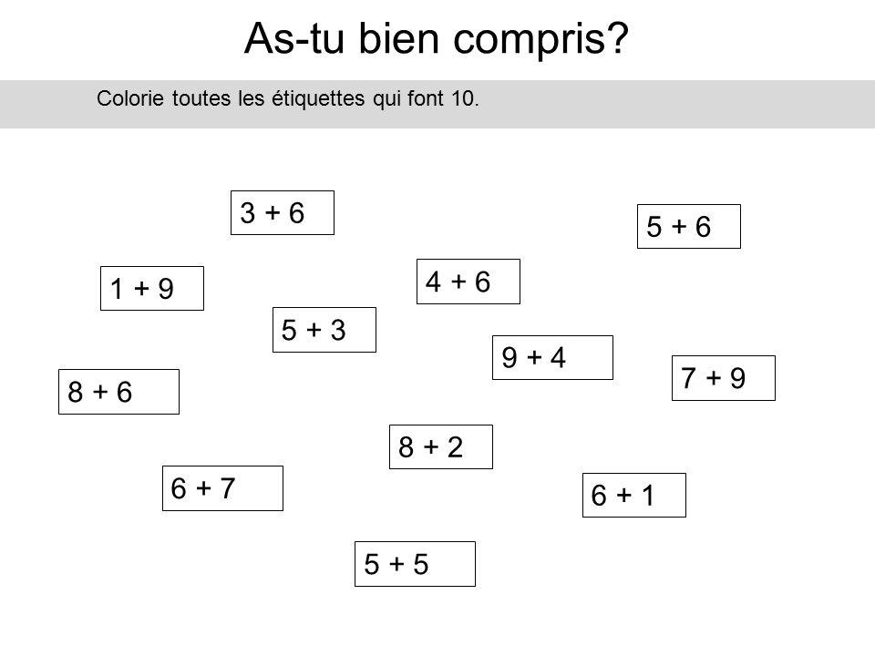 As-tu bien compris 3 + 6 5 + 6 4 + 6 1 + 9 5 + 3 9 + 4 7 + 9 8 + 6