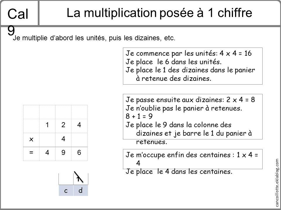 La multiplication posée à 1 chiffre