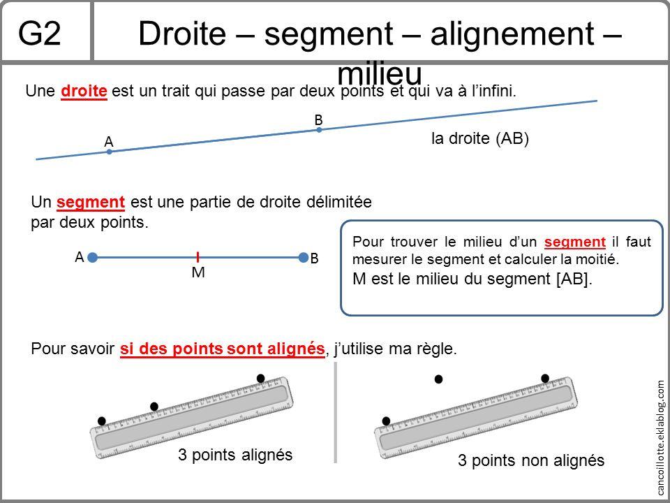 Droite – segment – alignement – milieu
