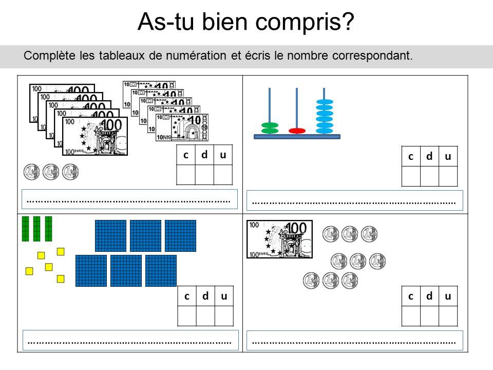 As-tu bien compris Complète les tableaux de numération et écris le nombre correspondant. c. d. u.
