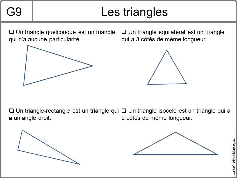 G9 Les triangles. Un triangle quelconque est un triangle qui n'a aucune particularité.