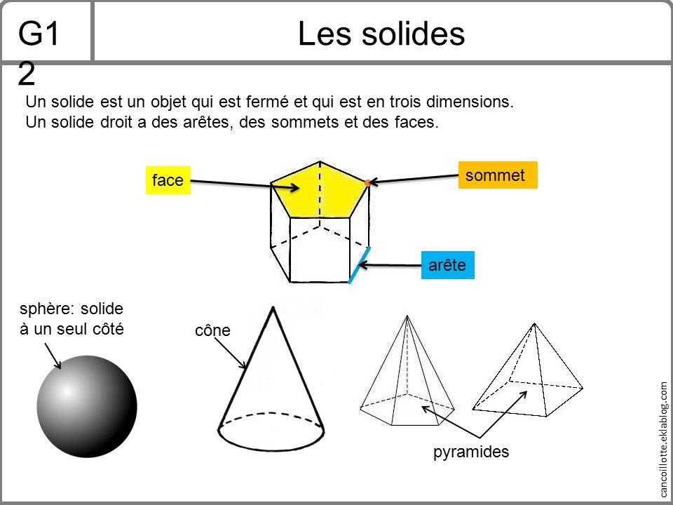 G12 Les solides. Un solide est un objet qui est fermé et qui est en trois dimensions. Un solide droit a des arêtes, des sommets et des faces.