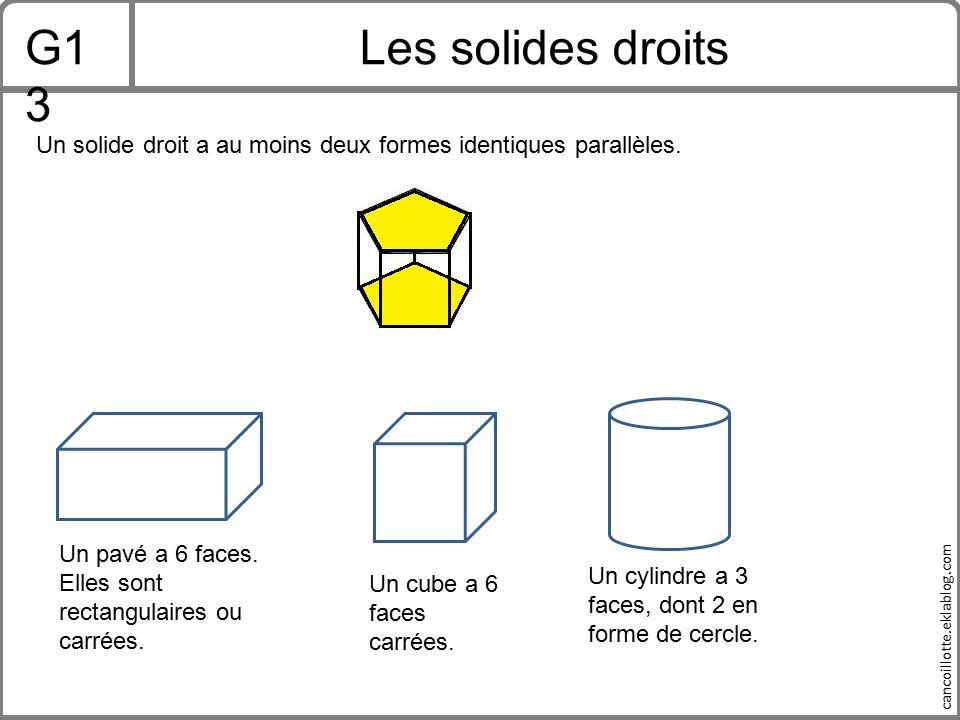 G13 Les solides droits. Un solide droit a au moins deux formes identiques parallèles. Un pavé a 6 faces. Elles sont rectangulaires ou carrées.