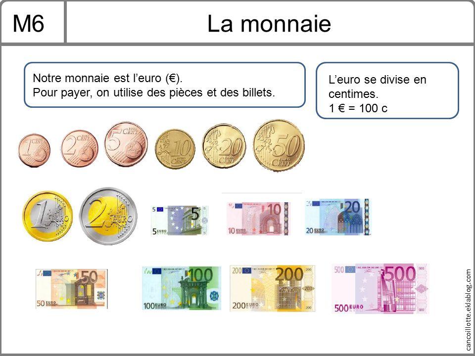 M6 La monnaie Notre monnaie est l'euro (€).