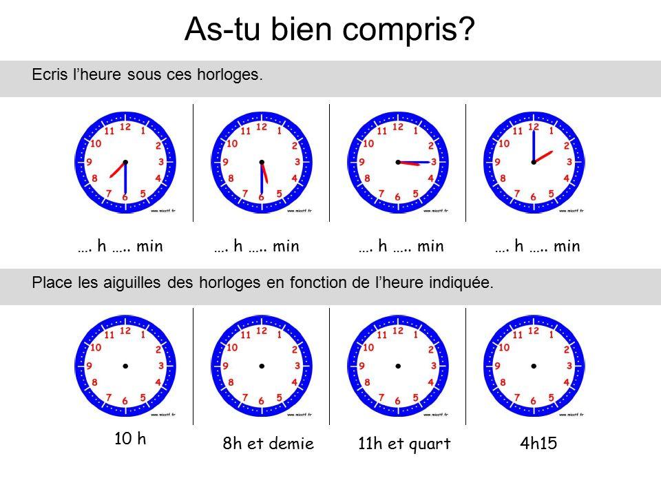 As-tu bien compris Ecris l'heure sous ces horloges. …. h ….. min