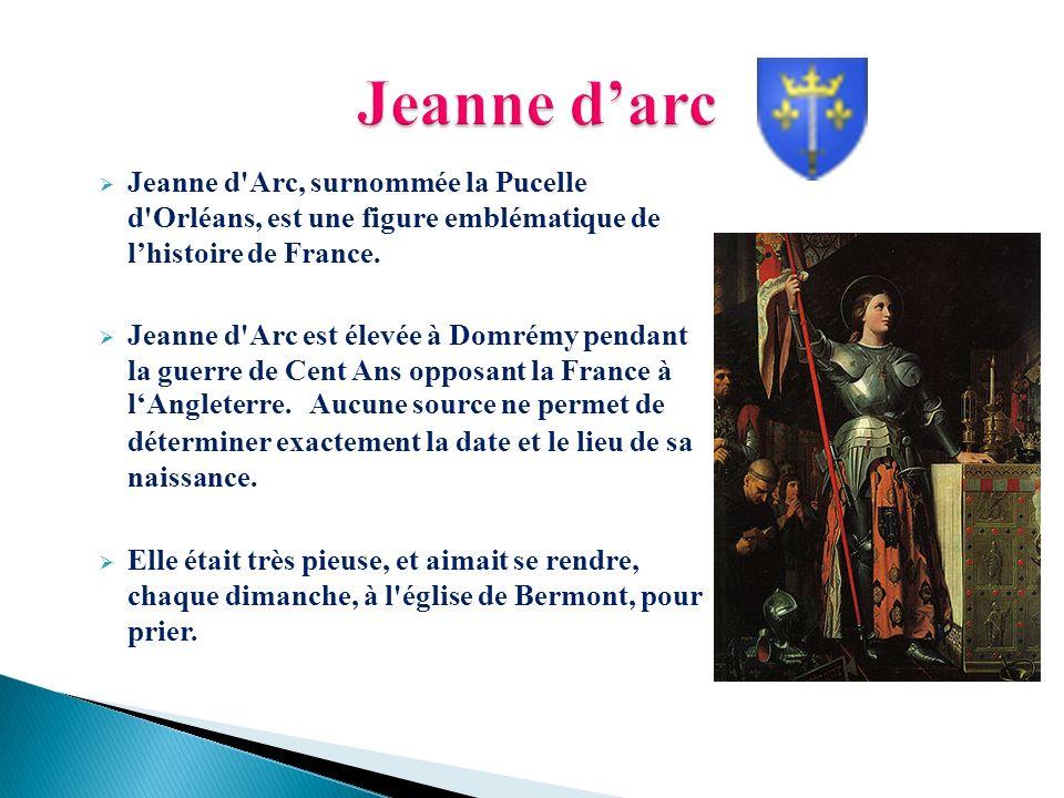 Jeanne d'arc Jeanne d Arc, surnommée la Pucelle d Orléans, est une figure emblématique de l'histoire de France.