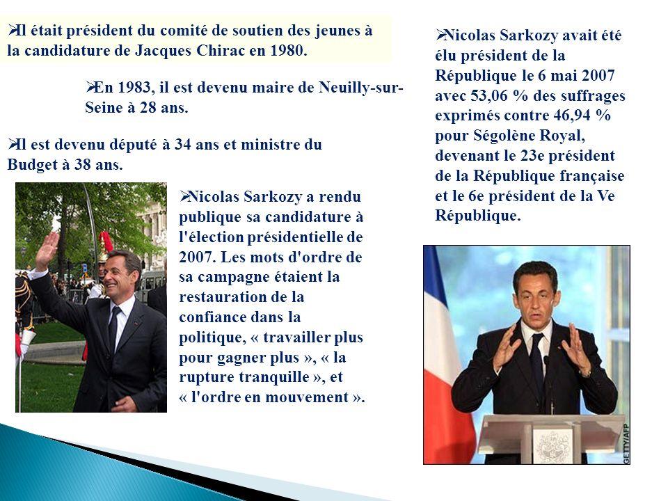 Il était président du comité de soutien des jeunes à la candidature de Jacques Chirac en 1980.