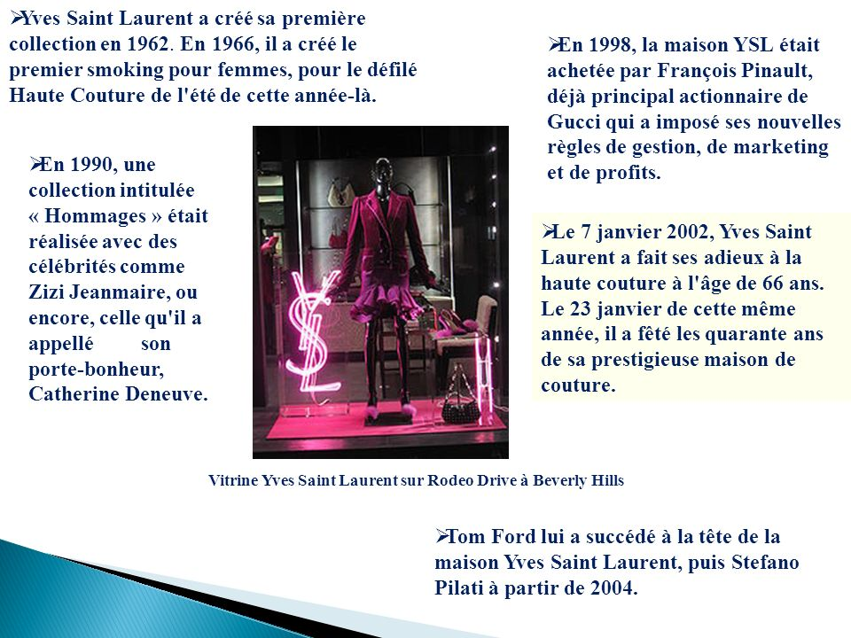 Yves Saint Laurent a créé sa première collection en 1962