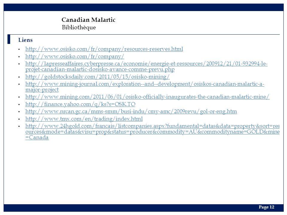 Canadian Malartic Bibliothèque Liens