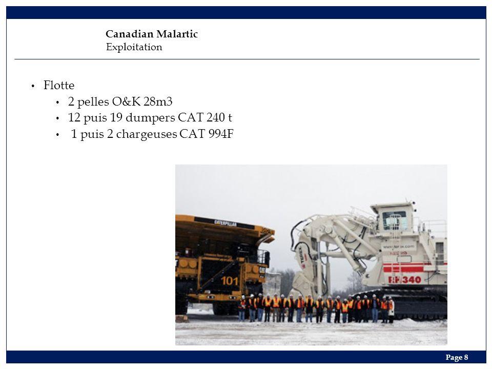 Flotte 2 pelles O&K 28m3 12 puis 19 dumpers CAT 240 t