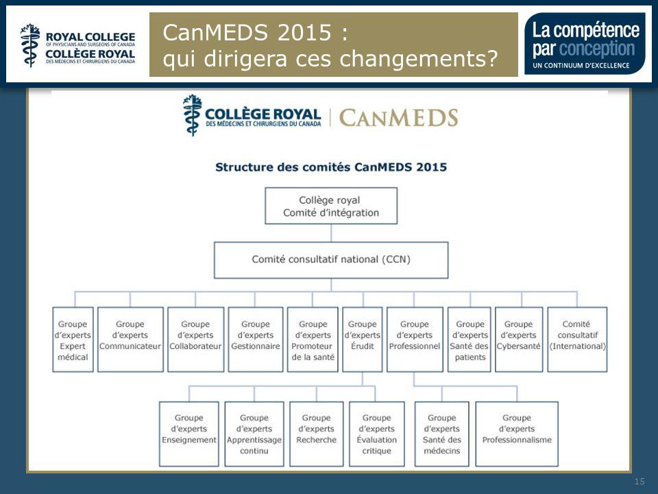 CanMEDS 2015 : qui dirigera ces changements