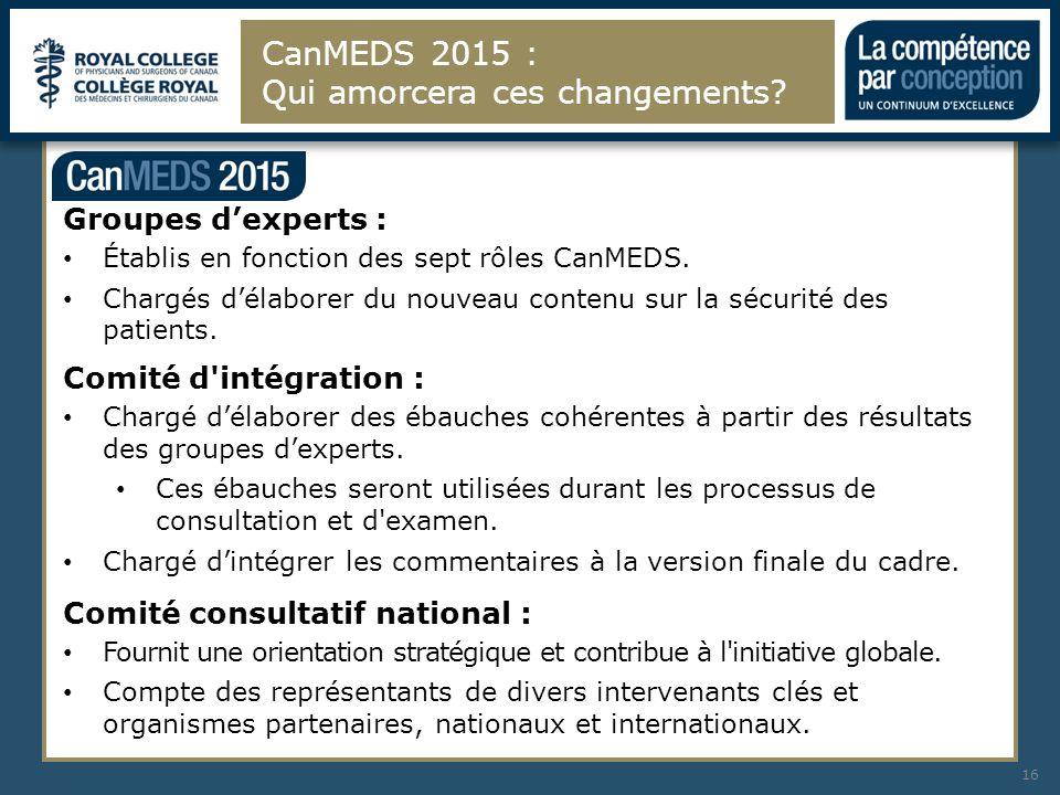 CanMEDS 2015 : Qui amorcera ces changements