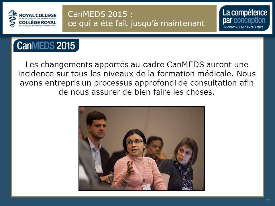 CanMEDS 2015 : ce qui a été fait jusqu'à maintenant