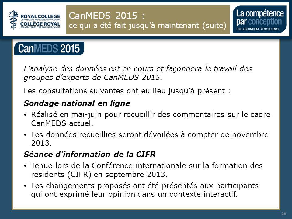 CanMEDS 2015 : ce qui a été fait jusqu'à maintenant (suite)