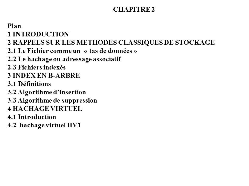 CHAPITRE 2 Plan. 1 INTRODUCTION. 2 RAPPELS SUR LES METHODES CLASSIQUES DE STOCKAGE. 2.1 Le Fichier comme un « tas de données »