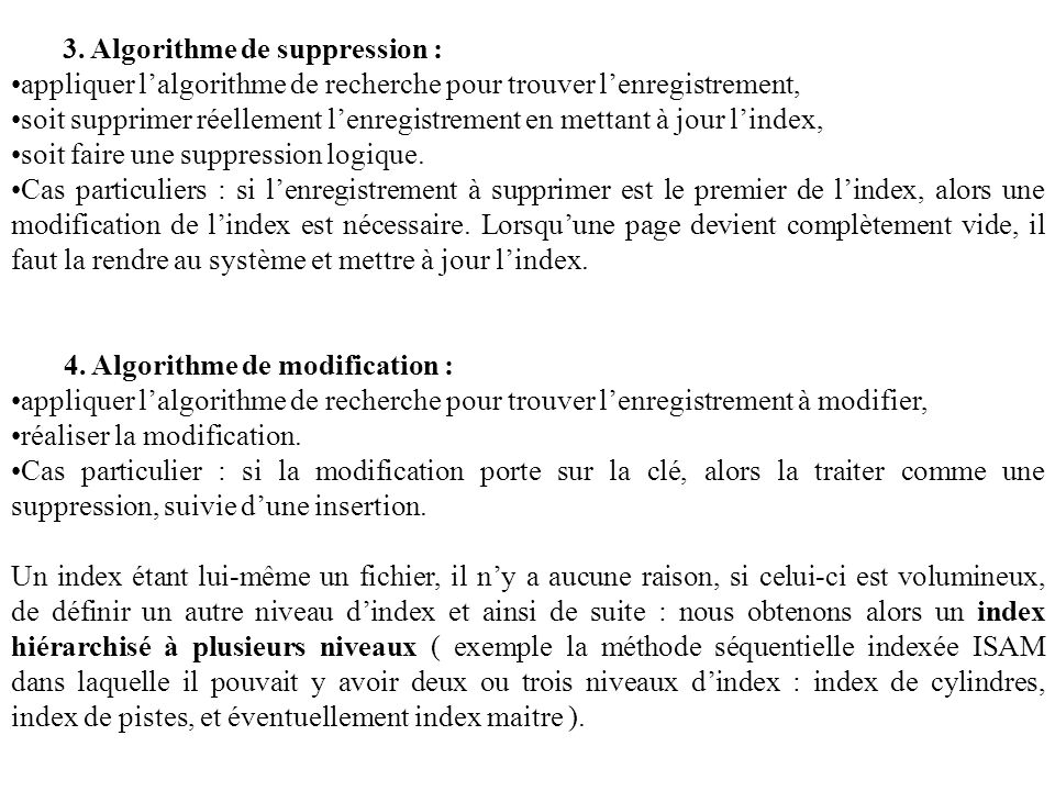 3. Algorithme de suppression :