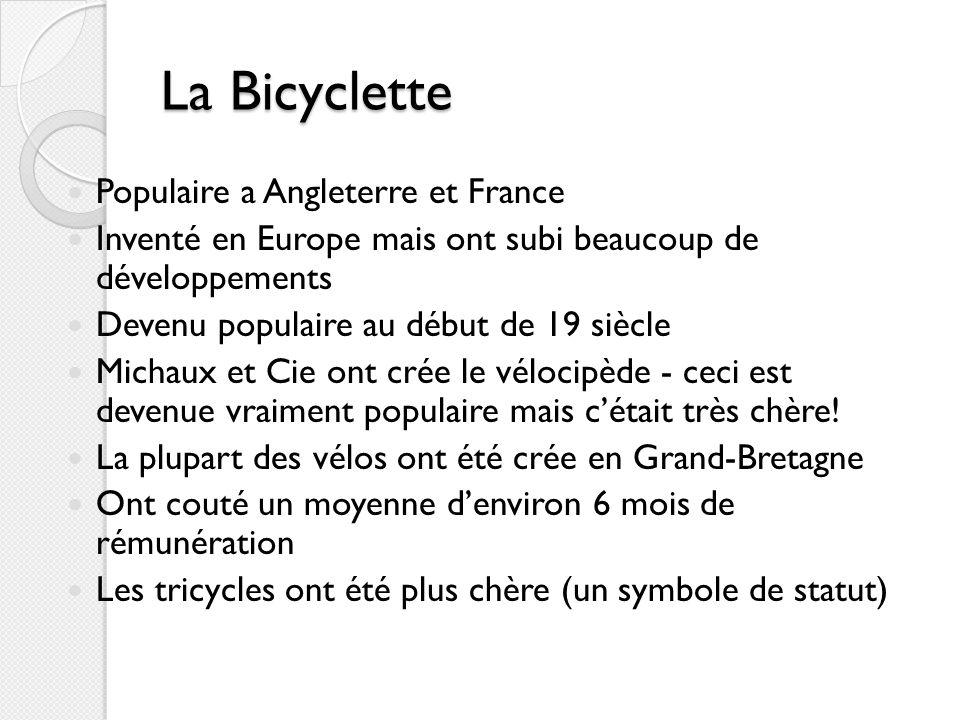 La Bicyclette Populaire a Angleterre et France