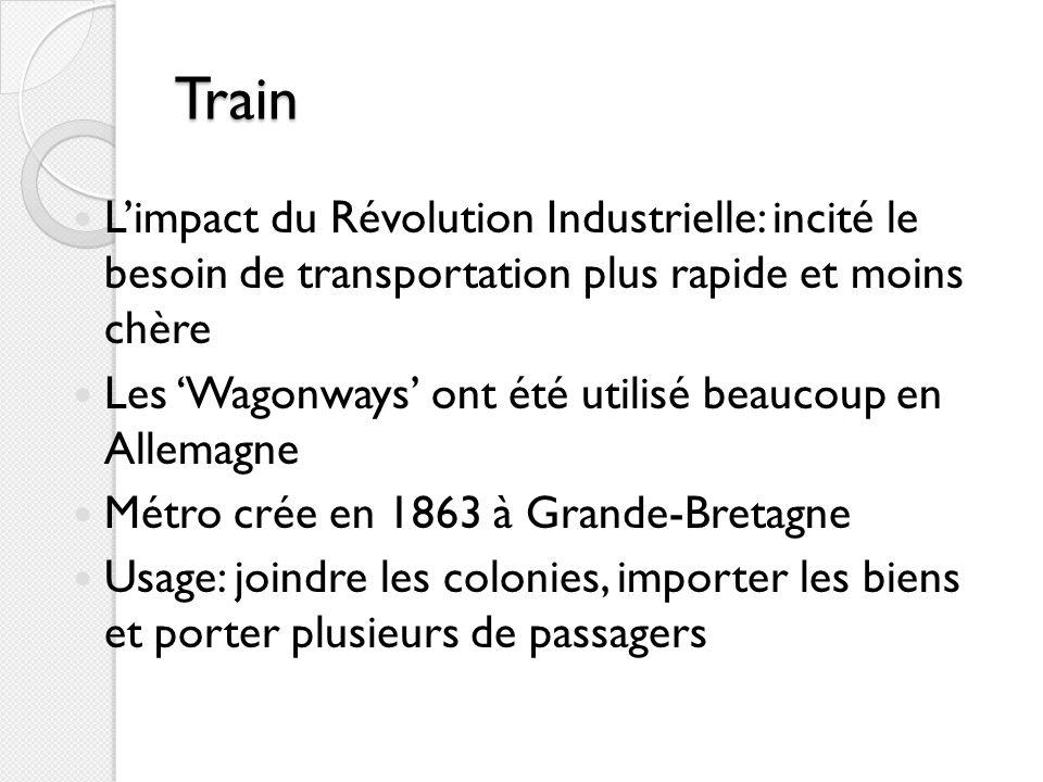 Train L'impact du Révolution Industrielle: incité le besoin de transportation plus rapide et moins chère.