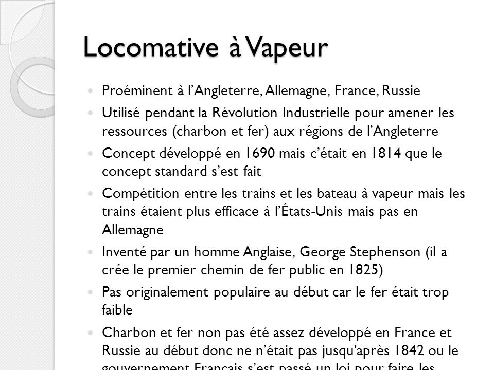 Locomative à Vapeur Proéminent à l'Angleterre, Allemagne, France, Russie.