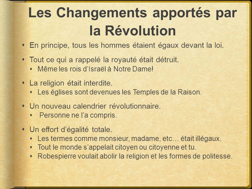Les Changements apportés par la Révolution