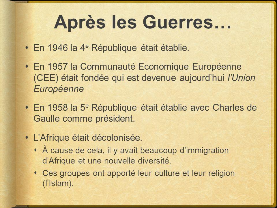 Après les Guerres… En 1946 la 4e République était établie.