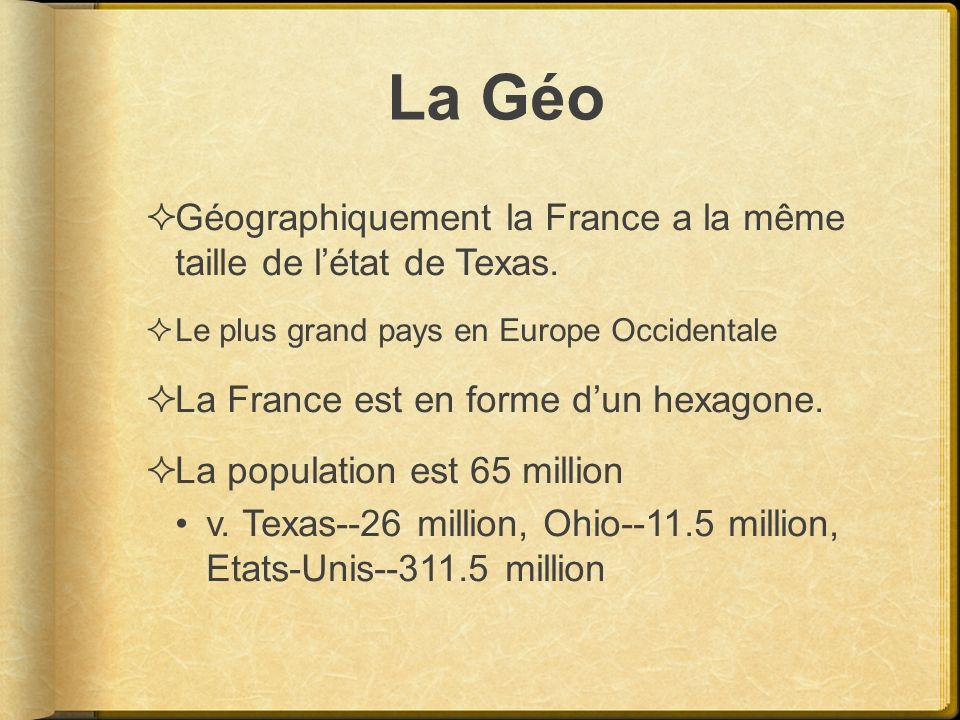 La Géo Géographiquement la France a la même taille de l'état de Texas.