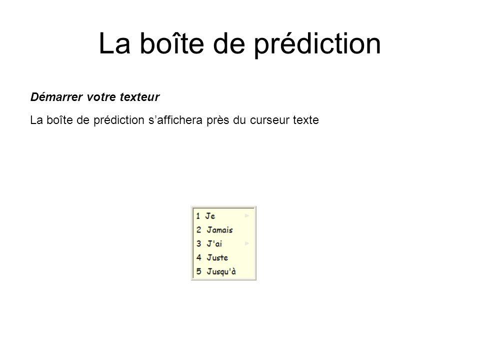 La boîte de prédiction Démarrer votre texteur