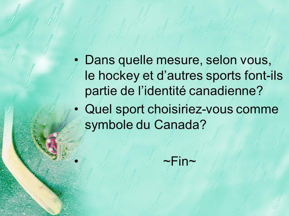 Dans quelle mesure, selon vous, le hockey et d'autres sports font-ils partie de l'identité canadienne