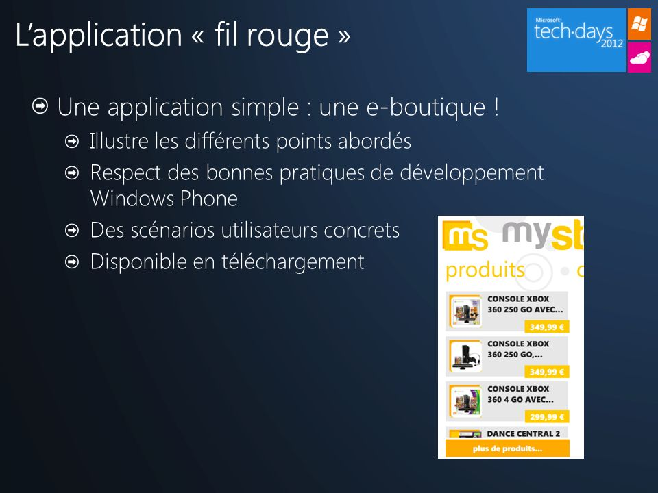L'application « fil rouge »
