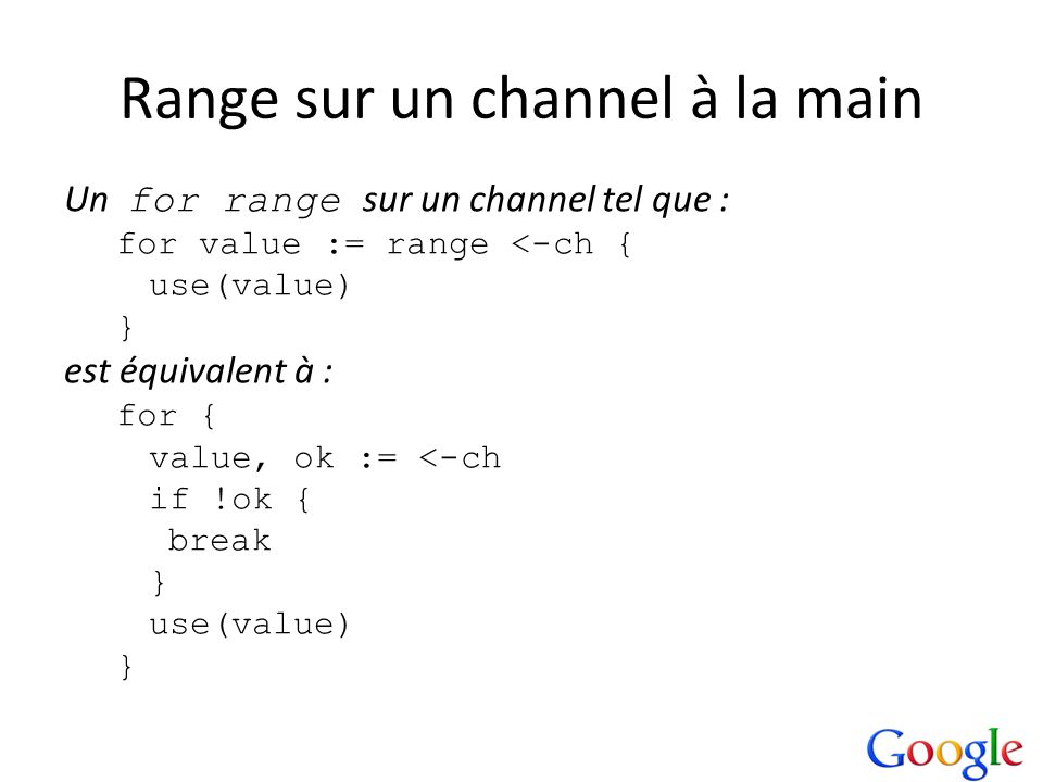 Range sur un channel à la main