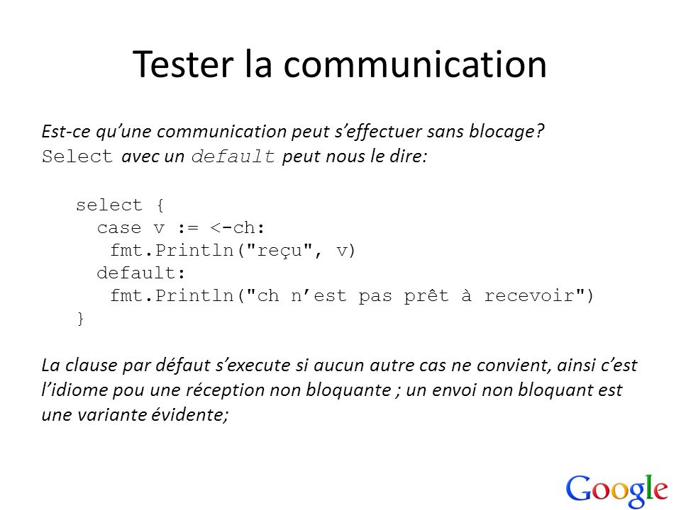 Tester la communication