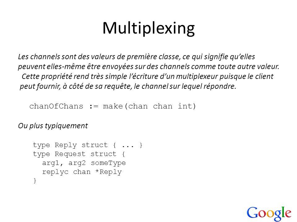 Multiplexing Les channels sont des valeurs de première classe, ce qui signifie qu'elles.