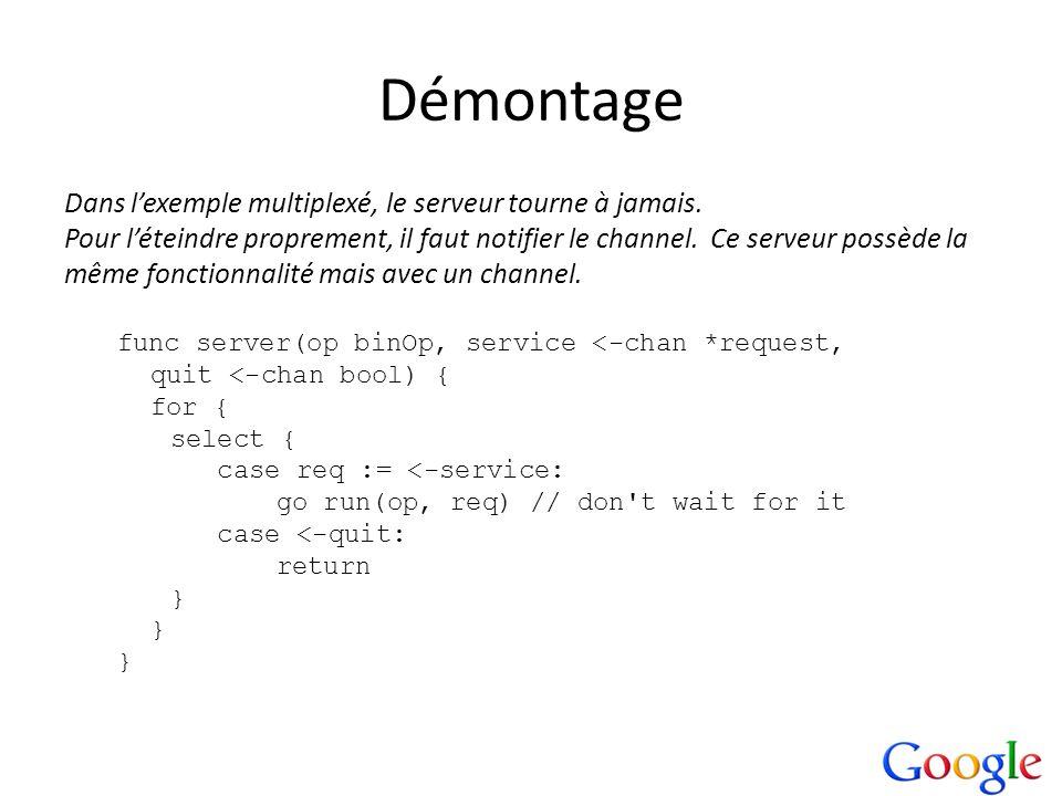 Démontage Dans l'exemple multiplexé, le serveur tourne à jamais.