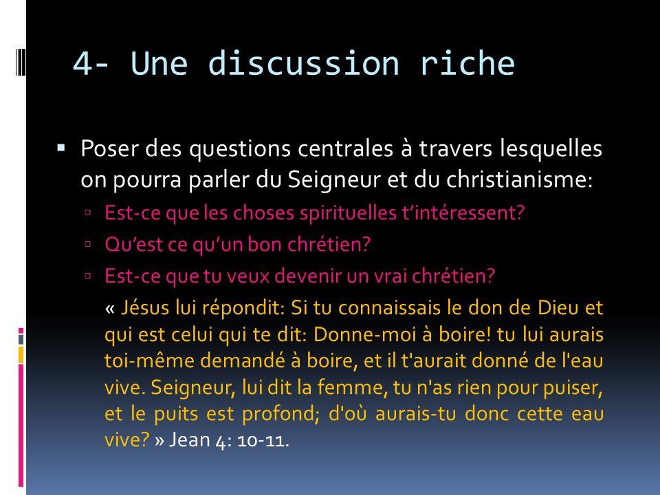 4- Une discussion riche Poser des questions centrales à travers lesquelles on pourra parler du Seigneur et du christianisme: