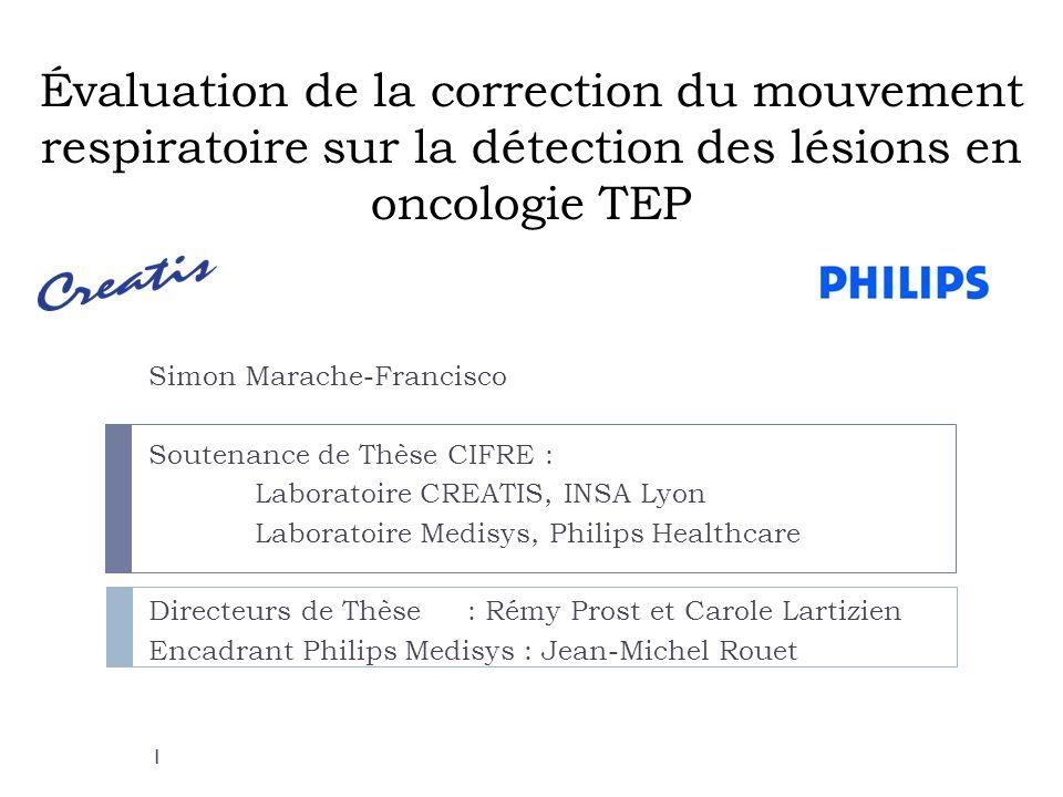 Évaluation de la correction du mouvement respiratoire sur la détection des lésions en oncologie TEP