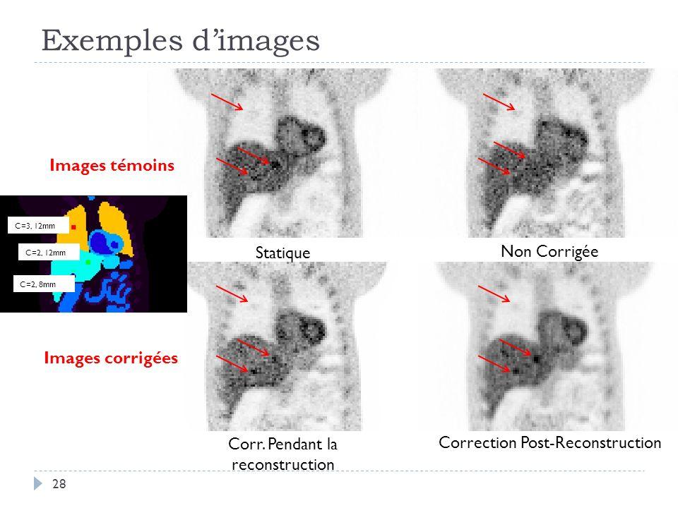 Exemples d'images Images témoins Statique Non Corrigée