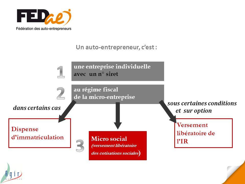 1 2 3 Un auto-entrepreneur, c'est : Versement libératoire de l'IR