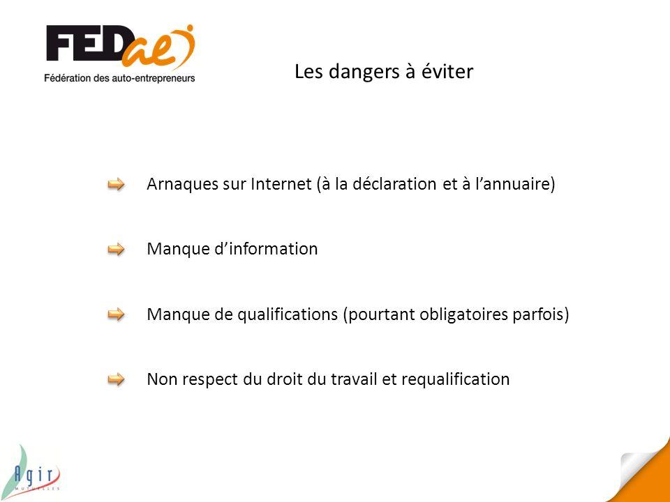 Les dangers à éviter Arnaques sur Internet (à la déclaration et à l'annuaire) Manque d'information.