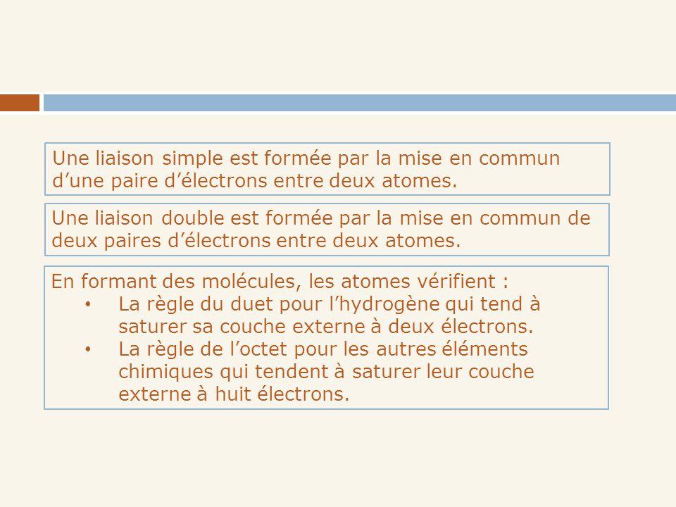 Une liaison simple est formée par la mise en commun d'une paire d'électrons entre deux atomes.