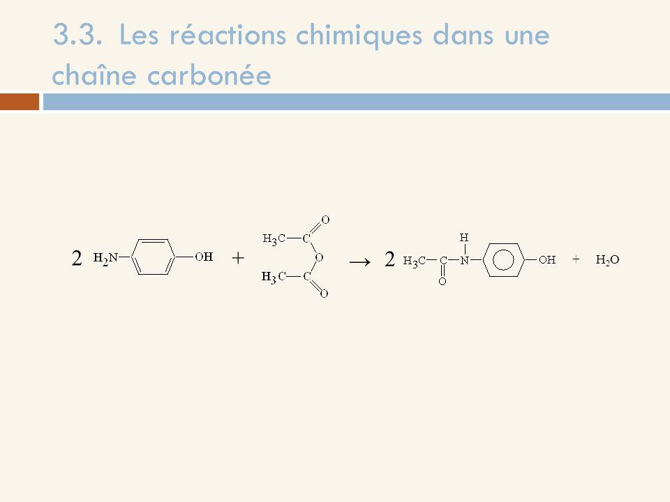 3.3. Les réactions chimiques dans une chaîne carbonée