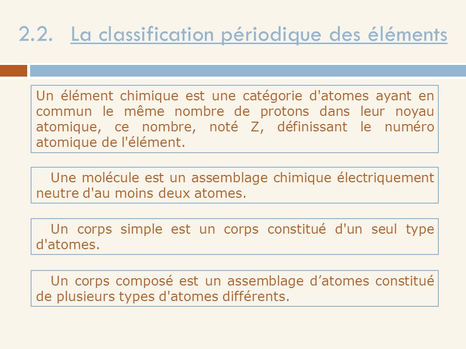 2.2. La classification périodique des éléments