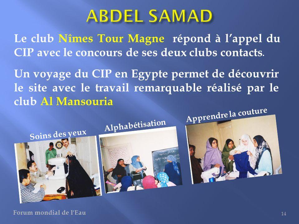 ABDEL SAMAD Le club Nîmes Tour Magne répond à l'appel du CIP avec le concours de ses deux clubs contacts.