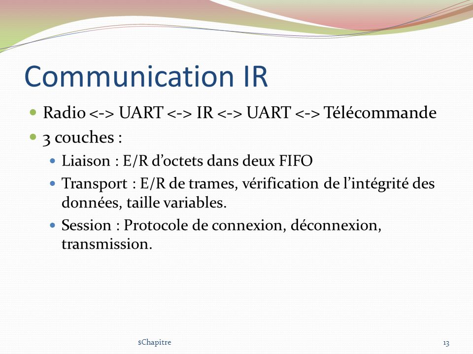 Communication IR Radio <-> UART <-> IR <-> UART <-> Télécommande. 3 couches : Liaison : E/R d'octets dans deux FIFO.
