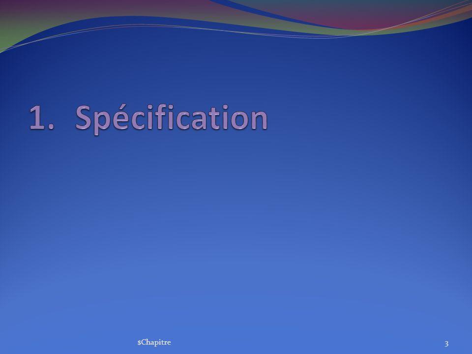 Spécification $Chapitre